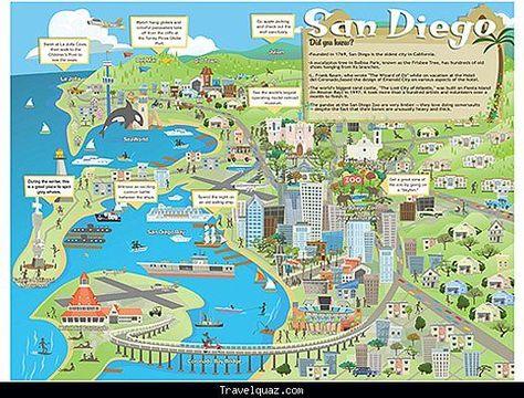 San Diego Map Tourist Attractions - Travelquaz.Com ®