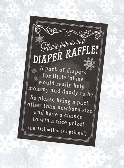 This chalkboard inspired Diaper Raffle Ticket is associated with the Baby Its Cold Outside invitation in my shop here::