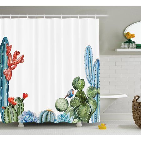 Home In 2020 Cactus Shower Curtain Fabric Shower Curtains
