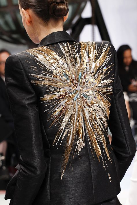Sequin embellished jacket back; couture fashion details // Schiaparelli Fall 2016