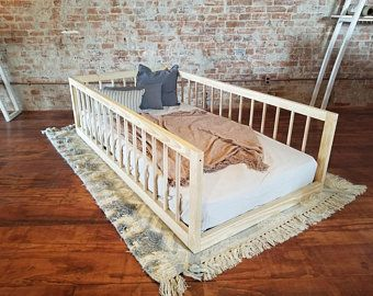 Twin Montessori Floor Bed With Three Round Spindle Railings