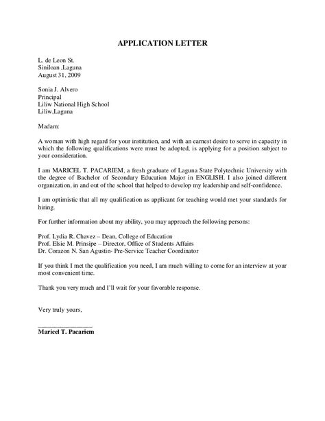 Image result for cover letter sample for fresh graduate information