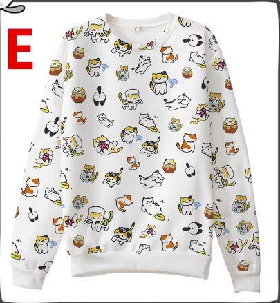 Japanese Game Neko Atsume ねこあつめ Cute Cat Casual Long Sleeve T-shirt Sweater