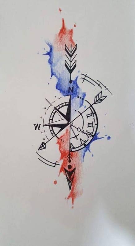 New tattoo compass clock arrows ideas #tattoo