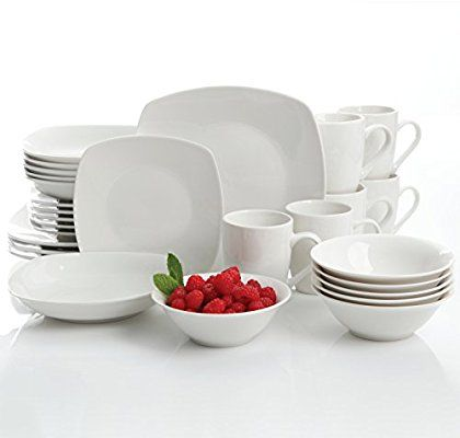 Amazon Com Gibson Home Hagen 30 Piece Dinnerware Set White Dinnerware Sets Dinnerware Square White Dinnerware Set Square Dish Sets