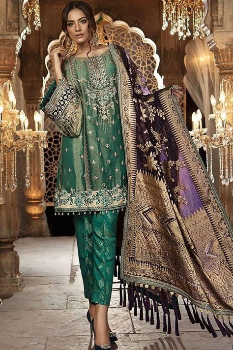 Pakistani Frock & Capri Pants In Bottle Green Color by Maria B Work  With Tilla Threads Embroidery