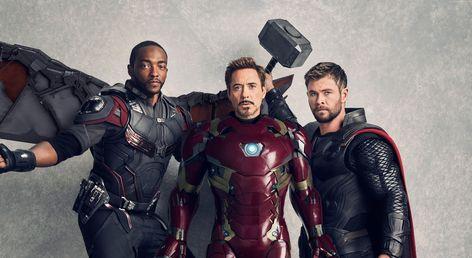 HD wallpaper: Thor, Avengers: Infinity War, Chris Hemsworth, Falcon, Anthony Mackie