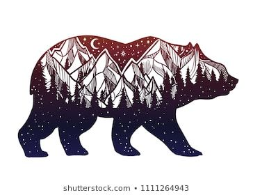 Image by Shutterstock Bear In The Forest At Night Men/'s Tee