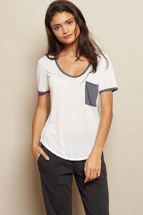 Relaxed Ringer Tee With Pocket