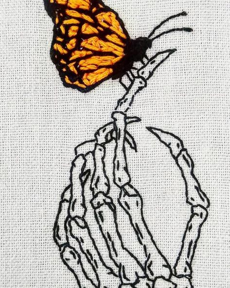 Skeleton Monarch Butterfly Framed Hand Embroidery - Hand Nail Design FoR Women Monarch Butterfly Tattoo, Butterfly Frame, Butterfly Drawing, Butterfly Background, Butterfly Logo, Butterfly Illustration, Skeleton Hands Drawing, Skeleton Tattoos, Skeleton Art
