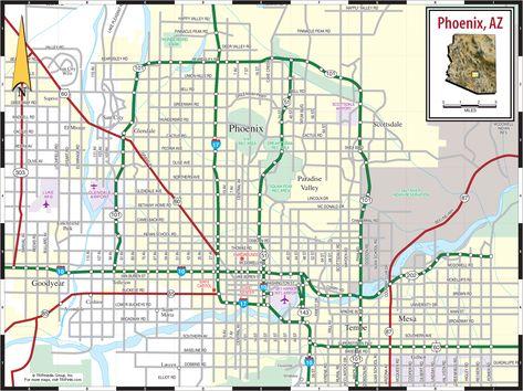 Phoenix Arizona Road Map | layout | Phoenix arizona map, Area map, Map