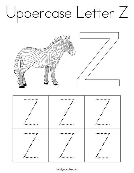 Uppercase Letter Z Coloring Page Twisty Noodle Letter Z Crafts Uppercase Letters Letter Z