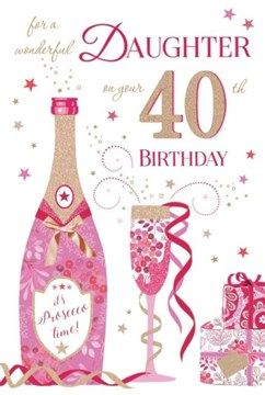Daughter 40th Birthday Card Glitter Cocktail S Flowers Butterflies 9 X 6 40th Birthday Cards Sister Birthday Card Birthday Cards
