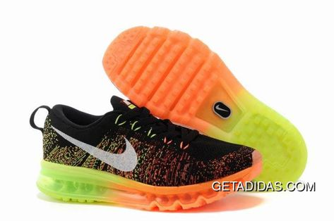 nike air max flyknit orange black