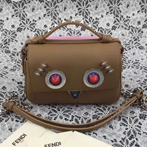 Fendi Embroidered Face Double Micro Baguette Bag Brown Pink 2016 ... 8411f08553f33