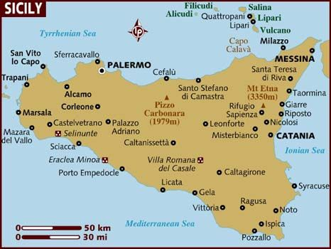 Map of Sicily. Fly in/out of Palermo, really want to see Marsala, Cefalu, and Taormina. Going to be a busy week!