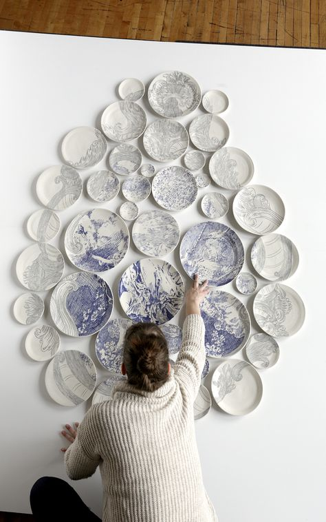 Molly Hatch creates beautiful mosaics made from painted ceramic plates.