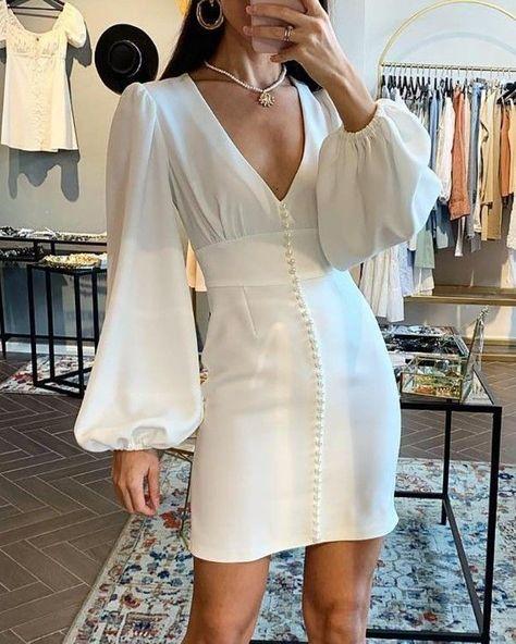 Solid Lantern Sleeve Tight Waist Dress - Fashion dresses - #Dress #Dresses #Fashion #Fashiondresses #Lantern #Sleeve #Solid #Tight #Waist