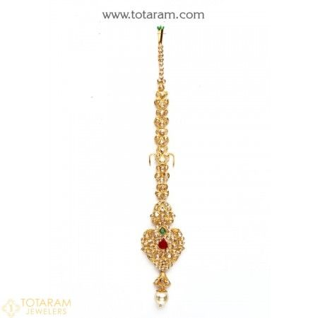 22k Gold Uncut Diamond Maang Tikka Papidi Billa Indian Gold Jewellery Design Uncut Diamond Gold Jewelry Indian