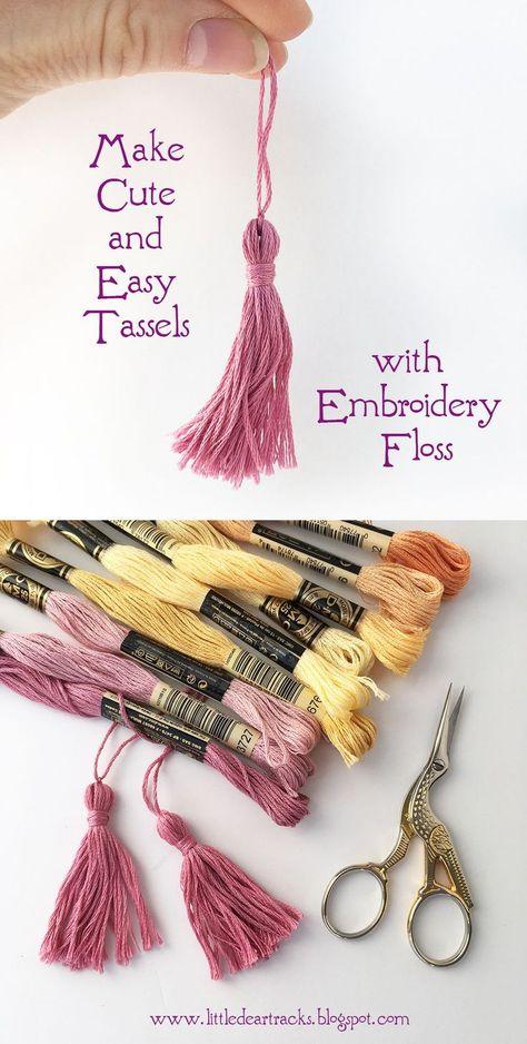 Make a cute mini tassel using embroidery floss with this easy free tutorial! Make a cute mini tassel using embroidery floss with this easy free tutorial! Diy Embroidery Floss Tassel, Dmc Embroidery Floss, Hand Embroidery Patterns, Embroidery Designs, Embroidery Tattoo, Geometric Embroidery, Simple Embroidery, Embroidery Jewelry, Embroidery Kits