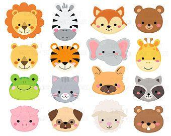 Baby Animal Face Bundle Clipart Clip Art Cute Elephant Lion Etsy Animal Clipart Sleeping Animals Animal Faces