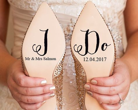 Personalised Wedding Shoe Vinyl Sticker Decal With Name & Date | Etsy