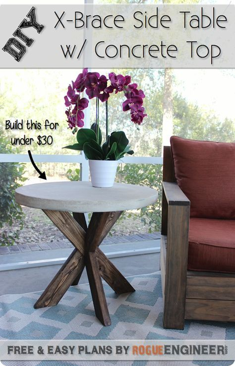 DIY Furniture Outdoor Living Space Find out how to make this Pottery Barn inspired Round Bistro Table with Concrete Top for less than 20 Concrete Furniture, Furniture Projects, Furniture Plans, Diy Furniture, Diy Projects, Garden Projects, Diy Outdoor Furniture, Retro Furniture, Plywood Furniture