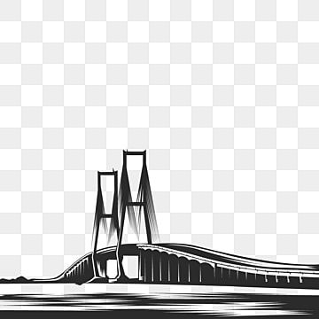 Suramadu Bridge Black White Silhouette Bridge Clipart Suramadu Bridge Png And Vector With Transparent Background For Free Download In 2021 Free Use Images Black And White Background Image Icon