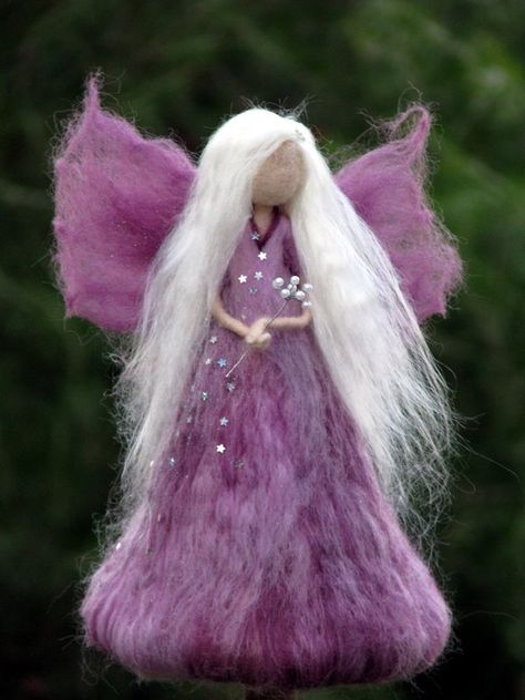 Needle felted Christmas tree topper Waldorf inspired Angel Home decor