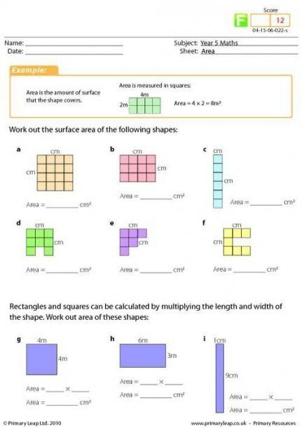 Area Worksheets For Grade 4 Area Worksheets Year 4 Maths Worksheets