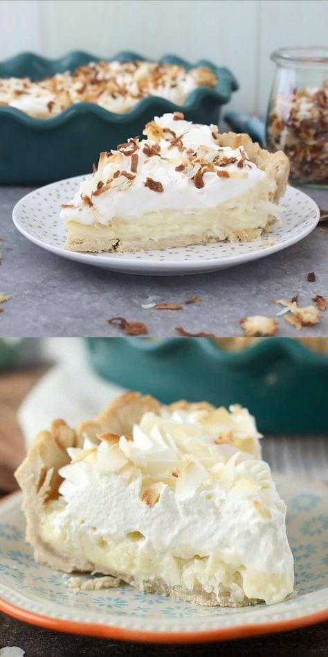 This TO-DIE-FOR Coconut Cream Pie has a dreamy homemade, sweet coconut custard filling and it's topped with plenty of whipped cream. It sits in a classic flaky pie crust. #coconutcreampie #coconutcream #coconutcreampierecipe