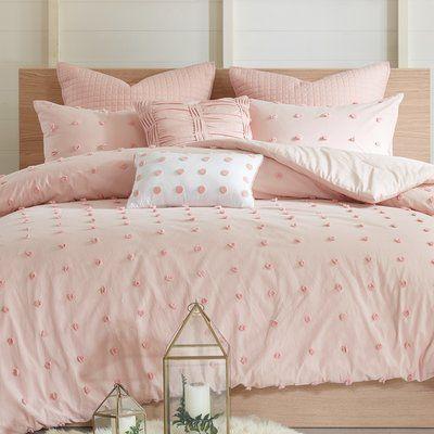 Blush Comforter Set 5 Piece Ruffled Shams Pillows King Size Pink bed bedding