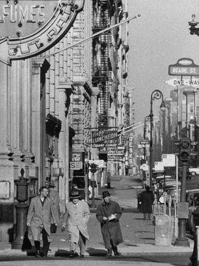 1954 Men Walking I Times Square S Glitz Grime Photographed Gothamist Caption Says Times Square But Street Sign Says Reade St Times Square Scenes Time