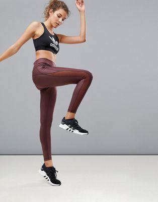adidas Training Leggings In Burgundy
