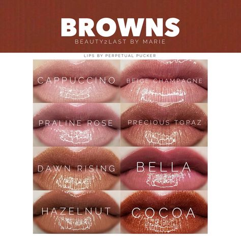 LipSense colors with various touches of brown, from barely there to deep dark brown