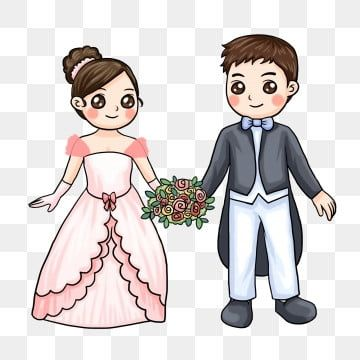 Chinese Style Cartoon Bride And Groom Wedding Wedding Illustration Bride And Groom Cartoon Bride Clipart