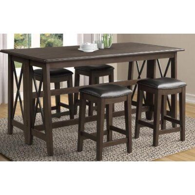 Red Barrel Studio 5 Piece Counter Height Drop Leaf Dining Set In