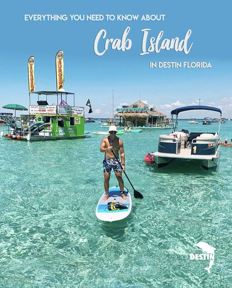 Learn everything about Crab Island in Destin Florida! Figure out how to get there, where to eat, what to do, how long to stay, and the best times to visit! Crab Island is a sandbar with crystal clear blue water that is waist deep in most places. Destin Florida Vacation, Florida Travel, Florida Beaches, Travel Usa, Santa Rosa Beach Florida, Fort Walton Beach Florida, North Carolina Beaches, Seaside Florida, Panama City Beach Florida