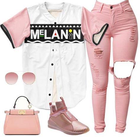 Melanin Baseball Jersey - pink sleeves