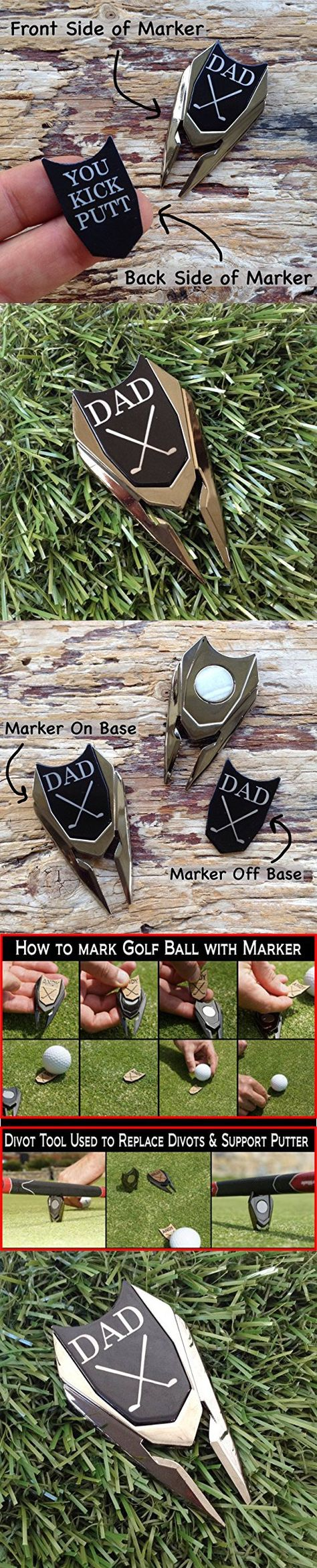 DAD Engraved Golf Ball Marker Divot Tool Remover