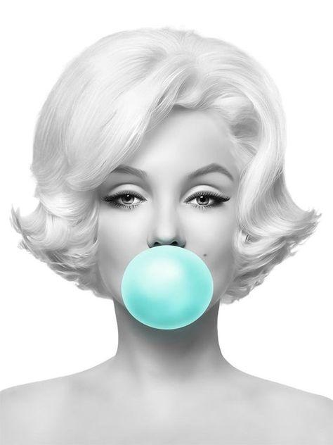 Marilyn Monroe Teal Bubble Gum Digital Print Bubblegum Pop image 6