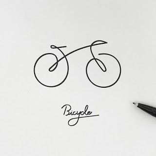 Line art bicycle logo drawing Cool Art Drawings, Pencil Art Drawings, Art Drawings Sketches, Easy Drawings, Bicycle Tattoo, Bike Tattoos, Cycling Tattoo, Bicycle Drawing, Bicycle Art