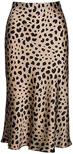 Leopard Skirt for Women Midi Length High Waist Silk Satin Elasticized Cheetah Skirts - Leopard / Small
