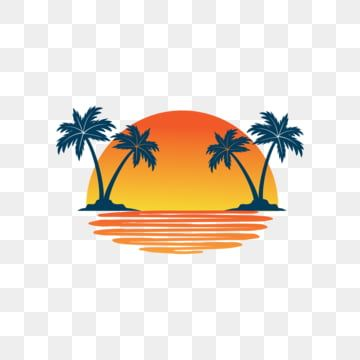 Orange Yellow Sunset Between Two Coconut Tree Island With Shadow On The Sea Vector Logo Design Beach Vector Logo Png And Vector With Transparent Background F In 2021 Tree Icon Tree