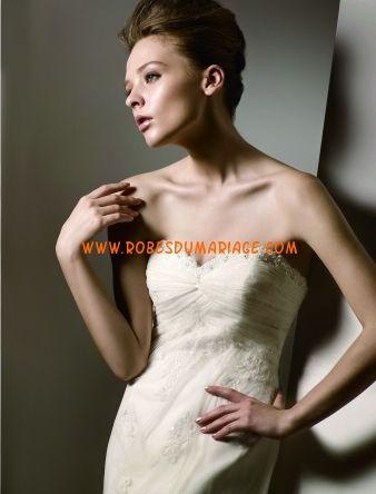 Anjolique belle robe de mariée simple bustier glamour ornée d'applique et broderie tulle