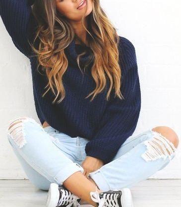 light blue denim. navy knit. converse.