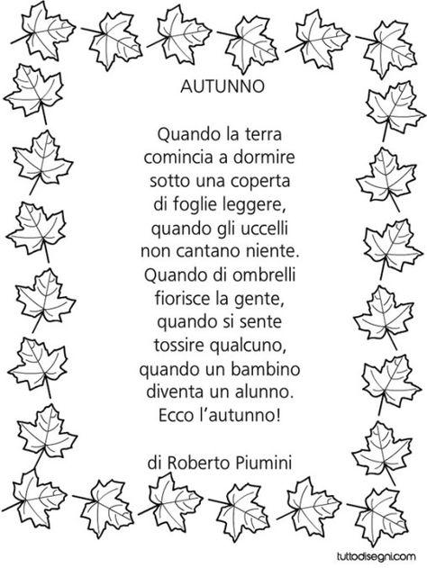 filastrocca autunno piumini | Filastrocche, Letture per