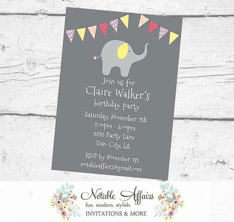 Elephant Birthday Party Baby Shower Polka Dots Stripes Invitation - gray background - no color changes - girl elephant party by NotableAffairs
