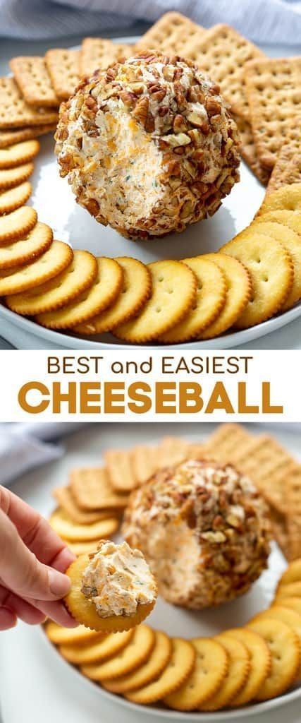 Classic Cheese Ball recipe made with real cheddar cheese, cream cheese, green onion and coated in chopped pecans. The BEST easy holiday appetizer that everyone loves!  #easy #recipes #best #holiday #cheeseball #thanksgiving #classic #appetizer via @betrfromscratch #Easy Recipes cheese Classic Cheeseball