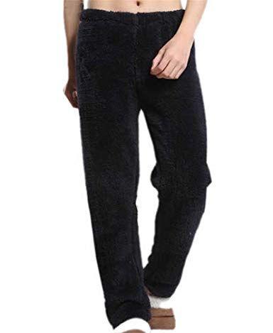 Cromoncent Mens Flannel Lounge Warm Elastic Waist Sleep Pajama Pants